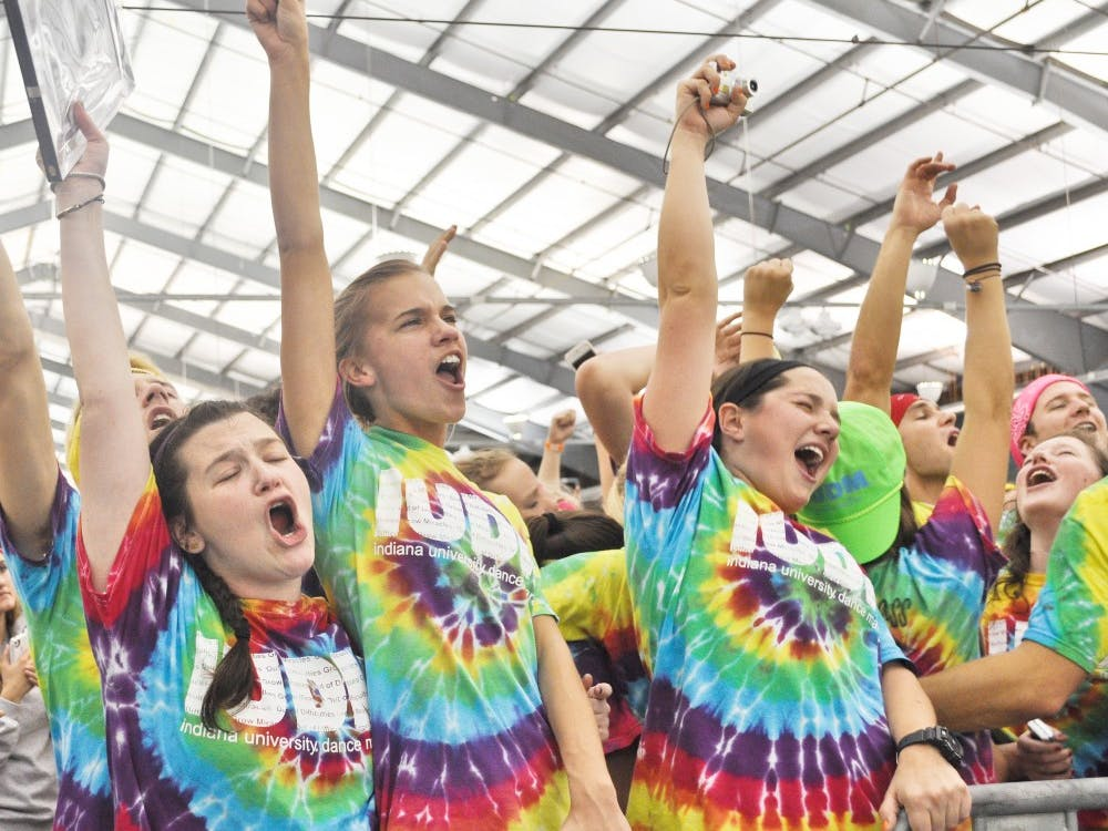 IUDM participants celebrate at the finale of the marathon early Sunday at the IU Tennis Center. They raised $1,801,207.20 as charity for the Riley Foundation.
