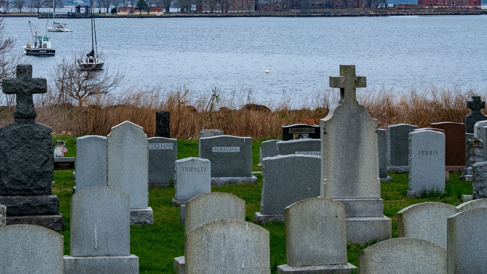 Hart Island is seen from City Island April 8 in New York City. Potter's Field on Hart Islanwas temporarily used for burials related to COVID-19as the city morgues and extra relief measures reached capacity.