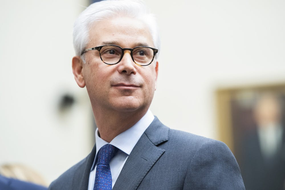 <p>Charles W. Scharf, CEO of Wells Fargo, arrives to testify March 10 during the House Financial Services Committee hearing in Washington, D.C.</p>