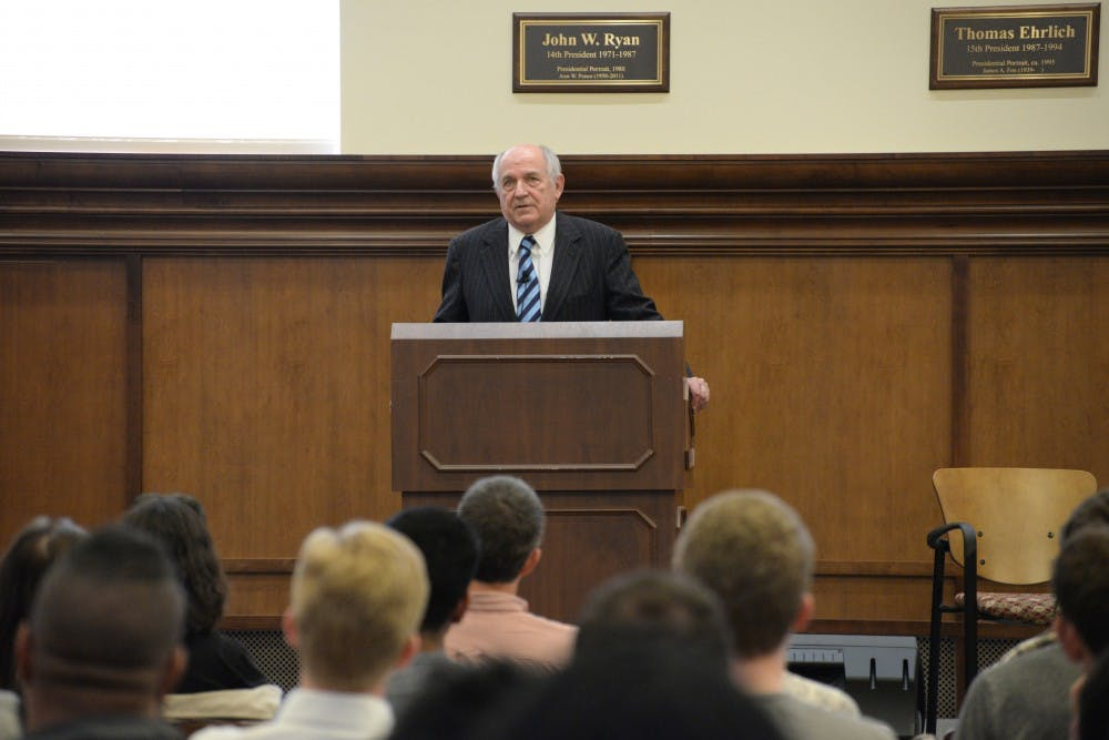 Charles Murray gives a talk to students and faculty members. His talk took place Tuesday in Franklin Hall.