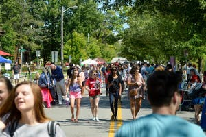 Students looking for more ways to get involved on campus flocked to Dunn Meadow for the annual Student Involvement Fair on Aug. 29, 2016. The event features everything from student organizations to local nonprofits.
