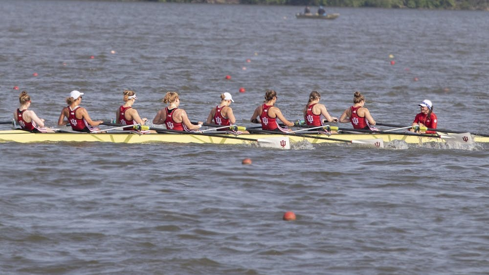 IU's rowing team races toward the finish line June 2 at Eagle Creek Park in Indianapolis. IU competed in the NCAA Rowing Championships.