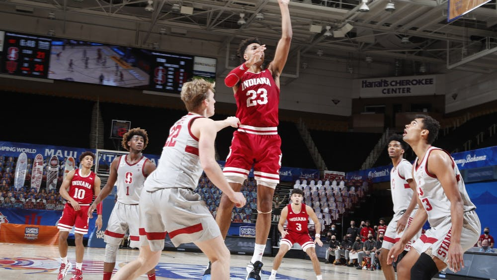 Sophomore Trayce Jackson-Davis drives to the rim Dec. 2 during the third-place game of the Maui Invitational against Stanford University in Asheville, North Carolina. Jackson-Davis scored a team and career-high 31 points in IU's victory over Stanford.