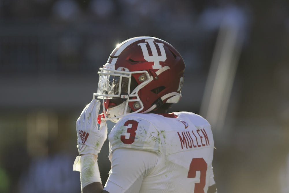 <p>Then-freshman defensive back Tiawan Mullen looks at the sidelines Nov. 16, 2019 at Beaver Stadium in State College, Pennsylvania. IU lost to Penn State 34-27.</p>
