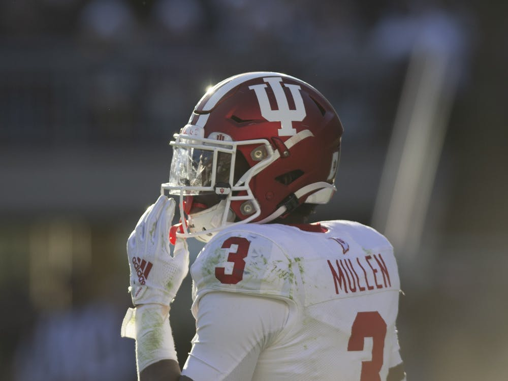 Then-freshman defensive back Tiawan Mullen looks at the sidelines Nov. 16, 2019 at Beaver Stadium in State College, Pennsylvania. IU lost to Penn State 34-27.