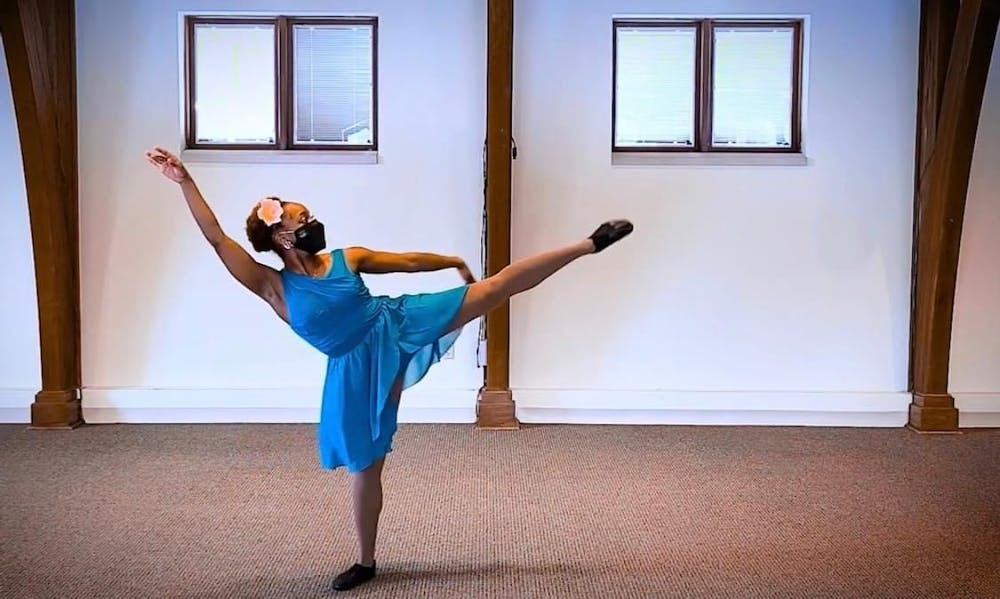 <p>Sophomore dance student Destiny Walton dances her routine for &quot;The Very Last Castle.&quot; The show is being put on virtually Tuesday at 4:30 by the Forgotten Clefs Renaissance Wind Ensemble.</p>