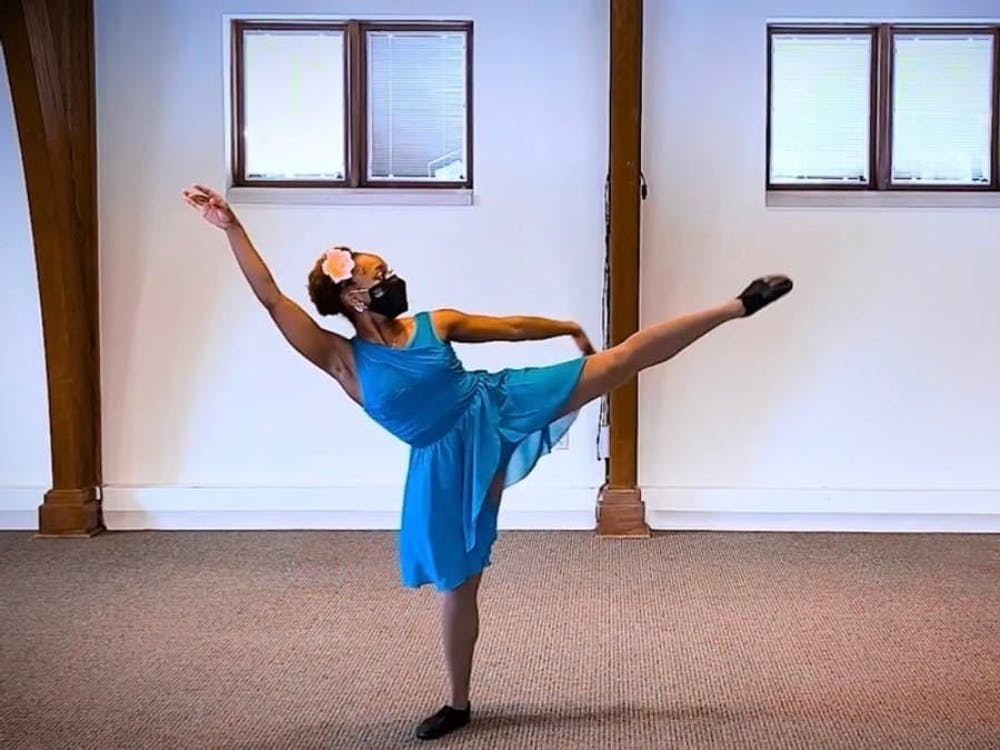 """Sophomore dance student Destiny Walton dances her routine for """"The Very Last Castle."""" The show is being put on virtually Tuesday at 4:30 by the Forgotten Clefs Renaissance Wind Ensemble."""