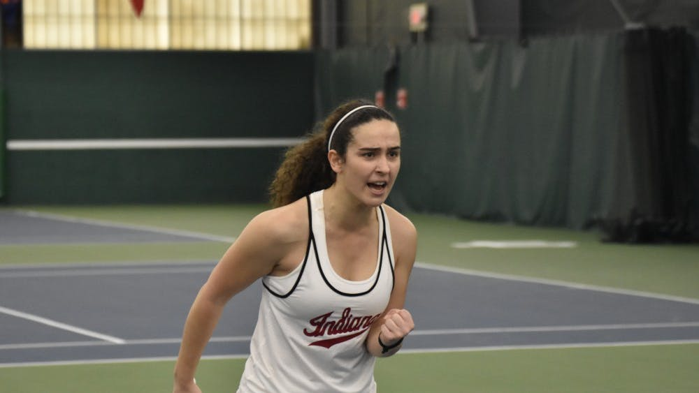 Then-freshman Jelly Bozovic, now a sophomore, celebrates winning a point during her match against Marquette University in the 2018 season. IU will play Penn State on April 12 in State College, Pennsylvania and The Ohio State University on April 14 in Columbus, Ohio.