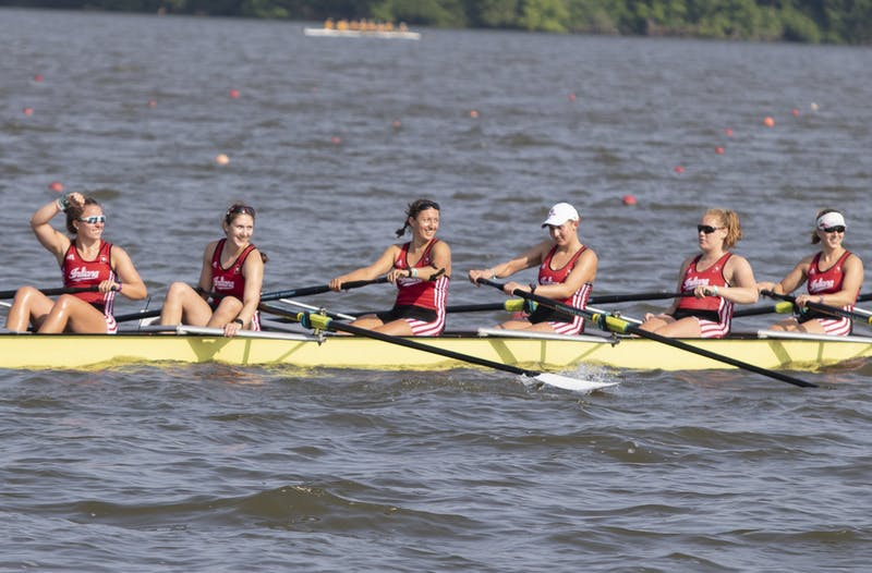 IU's rowing team smiles back at the crowd June 2, 2019, at Eagle Creek Park. The rowing team had 11 members  finish the season with a 4.0 GPA.