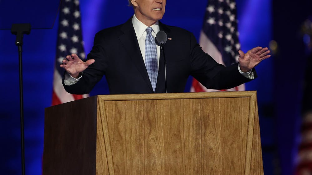 President-elect Joe Biden addresses the nation from the Chase Center on Nov. 7 in Wilmington, Delaware. After four days of counting the high volume of mail-in ballots in key battleground states due to the coronavirus pandemic, the race was called for Biden after a contentious election battle against incumbent Republican President Donald Trump.