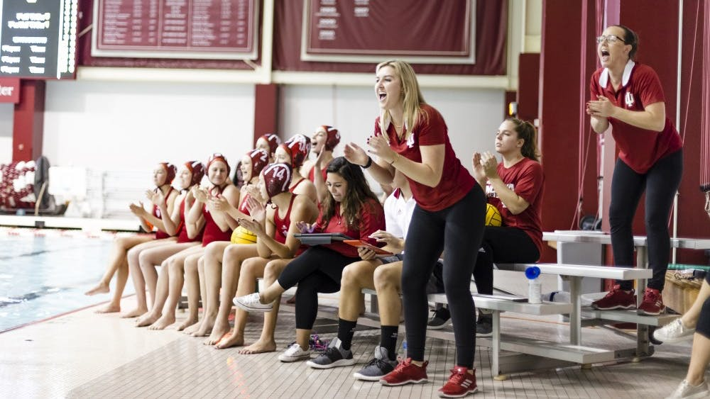Assitant Coaches Taylor Dodson and Emily Carr, left to right, celebrate a goal. IU faced five teams this weekend and won four of the five.