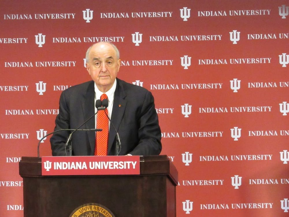 IU President Michael McRobbie looks up from the podium at the 2018 State of the University address Oct. 16.