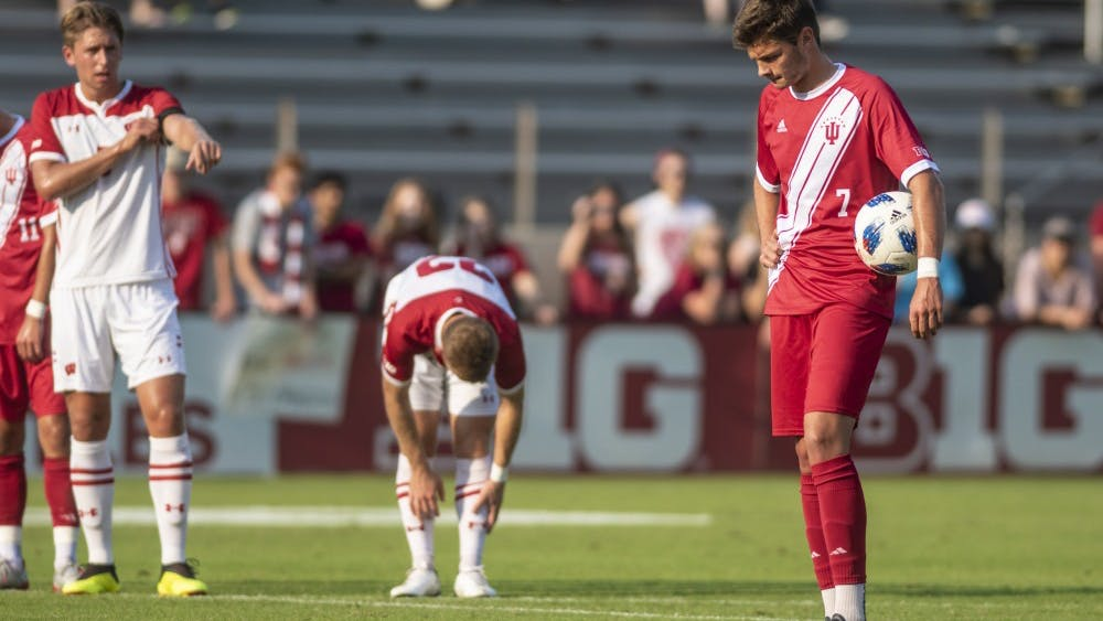 Freshman Victor Bezerra waits to take a penalty kick during IU's win over Wisconsin on Sept. 20 at Bill Armstrong Stadium. Bezerra put the penalty kick away to give IU a 1-0 lead over Wisconsin.