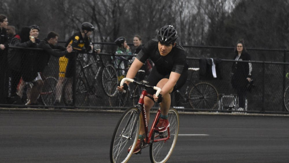 Jason Mark of Alpha Kappa Lambda rounds turn four during Individual Time Trials on Wednesday. Mark finished with a time of 2:45.303.
