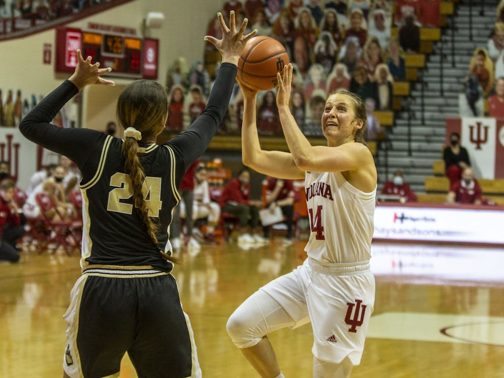 Senior guard Ali Patberg takes a shot Saturday at Simon Skjodt Assembly Hall. No. 10 IU led Purdue 34-39 at halftime, with Patberg scoring 11 points.