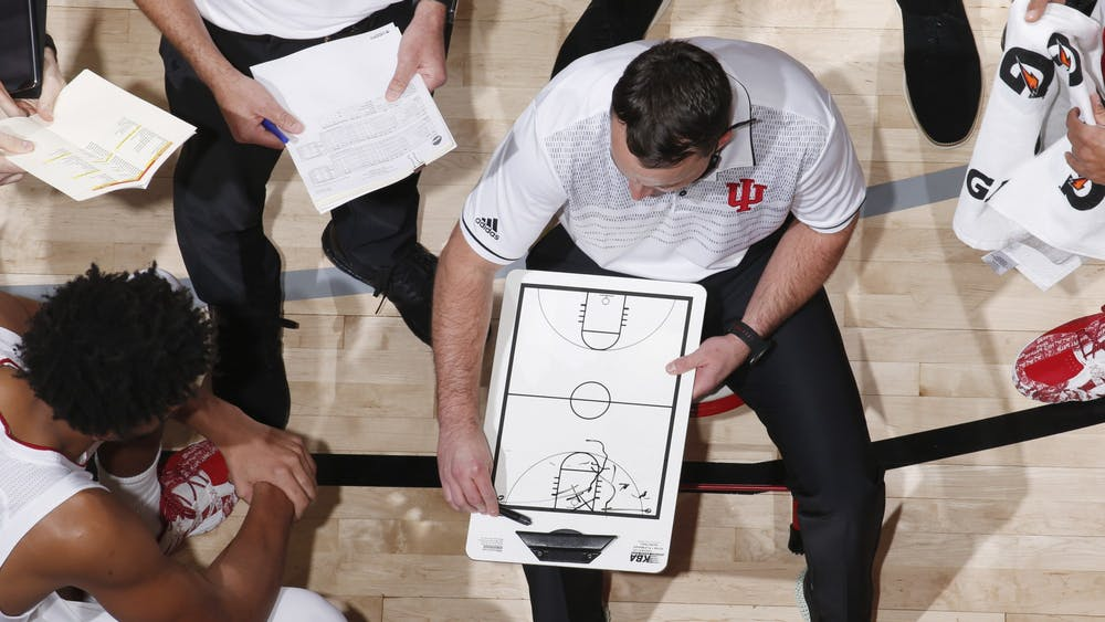 IU men's basketball head coach Archie Miller draws on a whiteboard Dec. 1 during the game against No. 17 University of Texas in the semifinals of the Maui Invitational in Asheville, North Carolina. IU had its worst offensive performance since 2010 in the 66-44 loss.