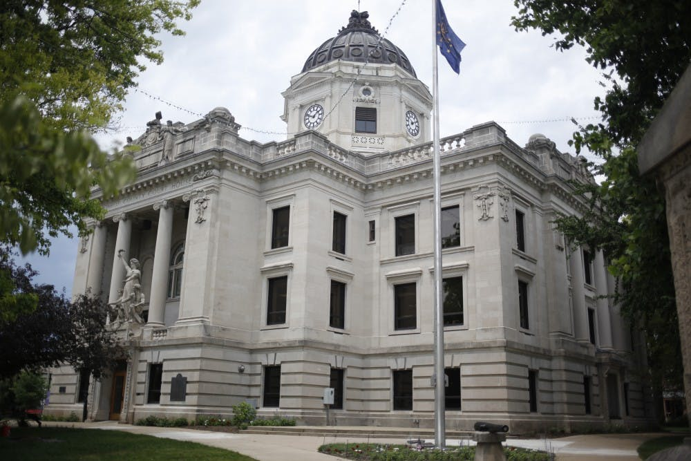 The Monroe County Courthouse is located in the middle of downtown Bloomington.