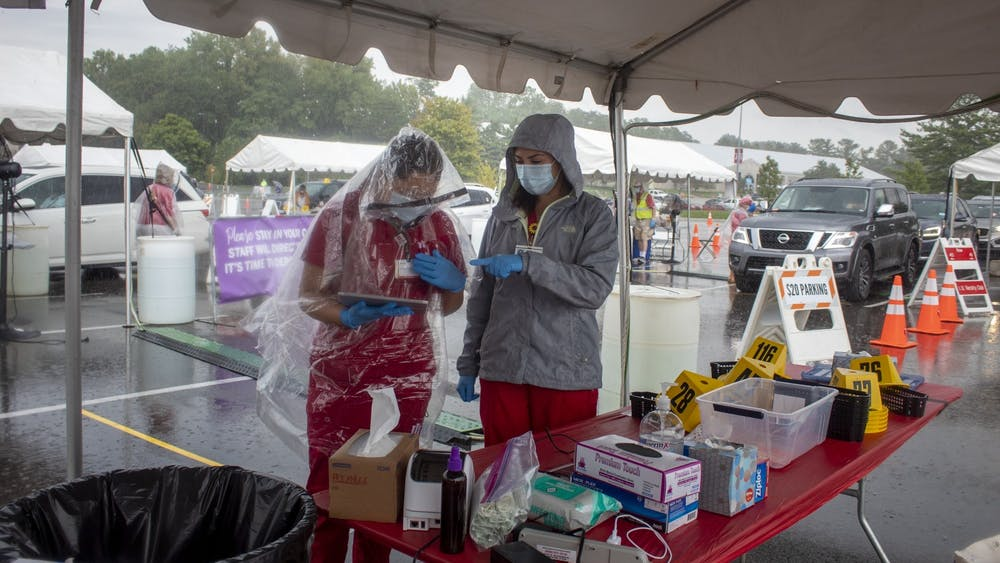 IU students Jessica Gutierrez and Ericka Alvarez work at a COVID-19 testing center Aug. 18, 2020, by Memorial Stadium. IU reported 58 positive test results out of 6,745 mitigation tests Jan. 13.