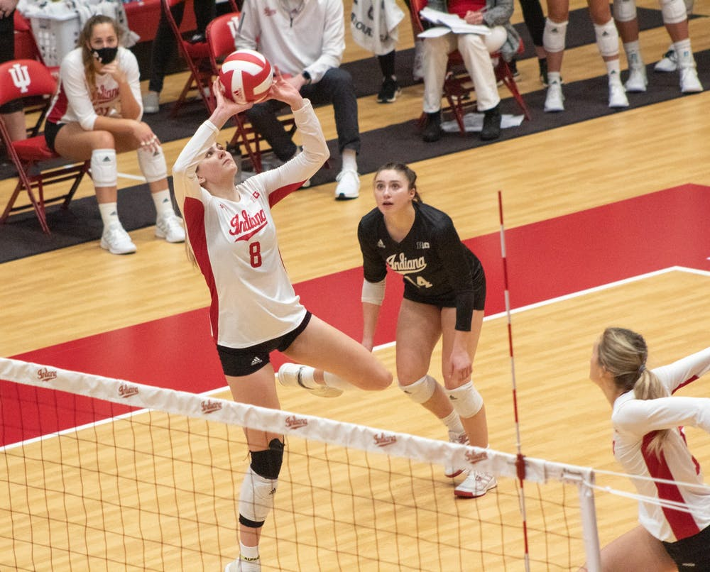 <p>Senior setter Brooke Westbeld sets the ball up for teammates Jan. 23 in Wilkinson Hall. The Hoosiers lost 25-21, 25-16 and 25-17 to Nebraska on Saturday.  </p>