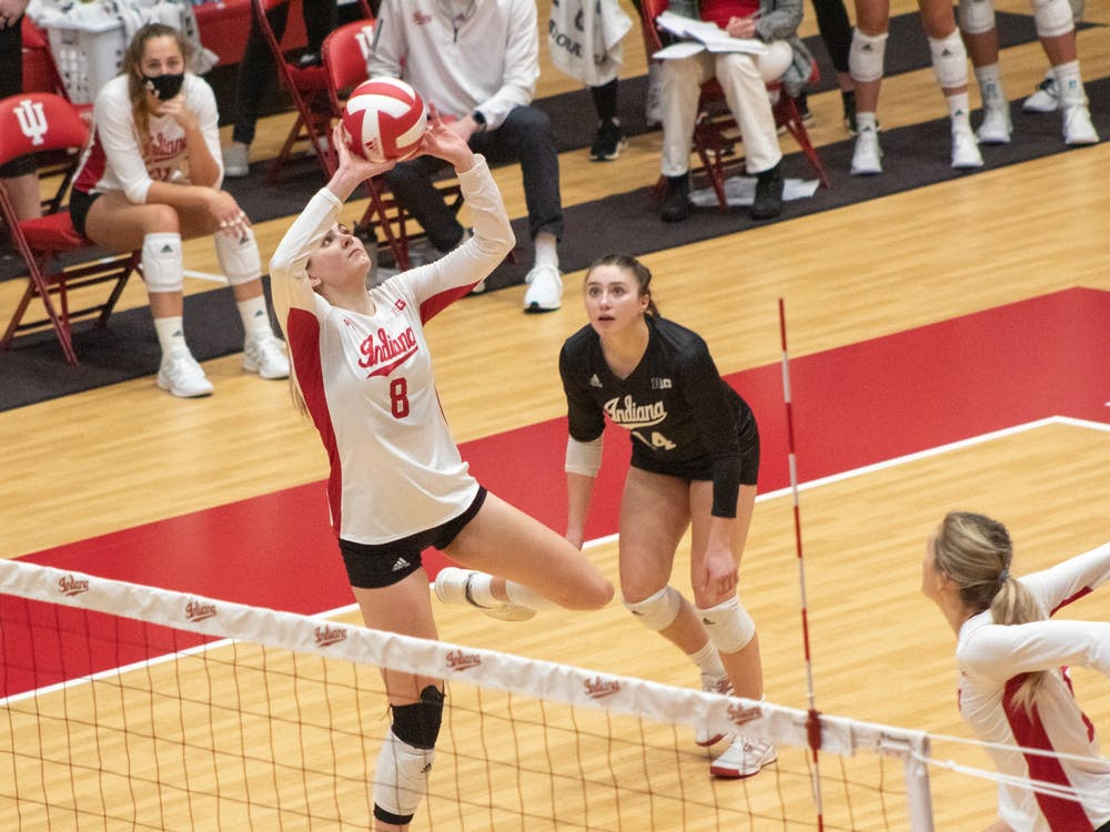 Senior setter Brooke Westbeld sets the ball up for teammates Jan. 23 in Wilkinson Hall. The Hoosiers lost 25-21, 25-16 and 25-17 to Nebraska on Saturday.