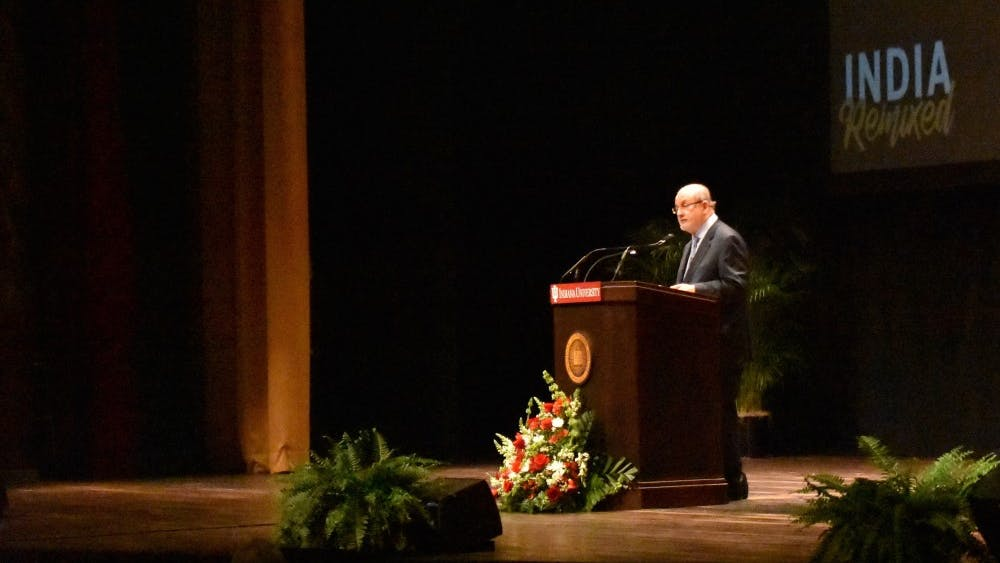 Novelist and essayist Salman Rushdie compares eastern and western fiction in a speech he gave in the IU Auditorium on Thursday. He urged the audience to embrace the fantastical and reject conventional writing wisdom.