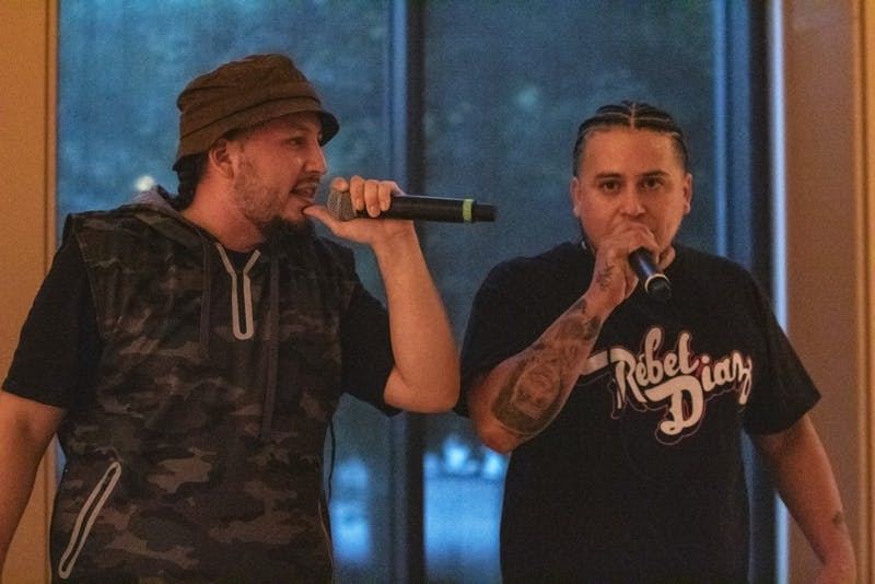 G1 and RodStarz from Rebel Diaz perform Oct. 7 in the Grand Hall at the Neal-Marshall Center. Rebel Diaz is a political hip-hop duo who uses its music to help spread knowledge about different injustices.