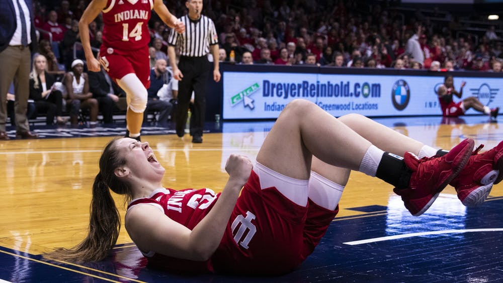 Then-freshman Mackenzie Holmes shouts after drawing a foul and scoring a basket Dec. 11, 2019, at Hinkle Fieldhouse in Indianapolis.
