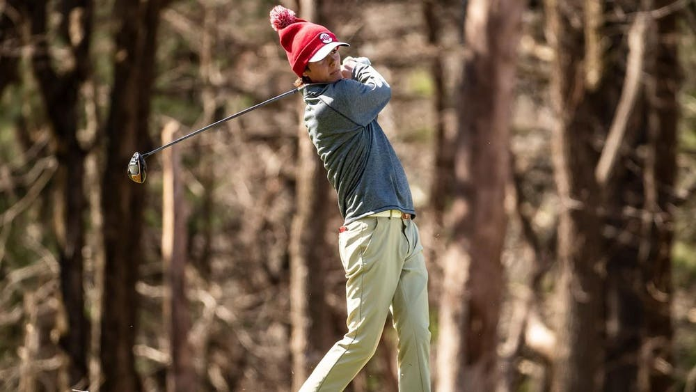 <p>Senior Ethan Shepard swings a golf club during the Robert Kepler Intercollegiate on April 24 in Columbus, Ohio. IU will compete in the Big Ten Championship this weekend in Carmel, Indiana. </p>