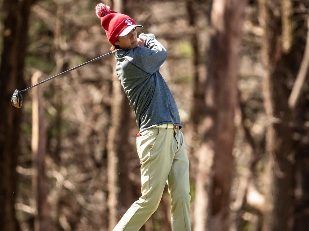 Senior Ethan Shepard swings a golf club during the Robert Kepler Intercollegiate on April 24 in Columbus, Ohio. IU will compete in the Big Ten Championship this weekend in Carmel, Indiana.