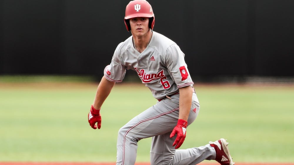 <p>Sophomore Grant Richardson watches the ball April 3 during a game against Ohio State. IU will compete against Illinois this weekend.</p>