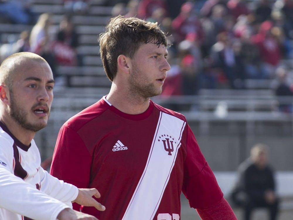 IU's Timmy Mehl stands on the field during overtime of the NCAA Tournament loss against Virginia Tech at Bill Armstrong Stadium last season. Mehl has become a multifaceted player for the Hoosiers in 2017.