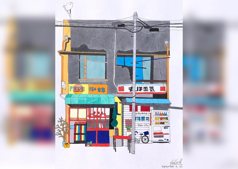 A piece of art depicting a storefront in Tokyo, Japan by freshman Vika Terrill is pictured.