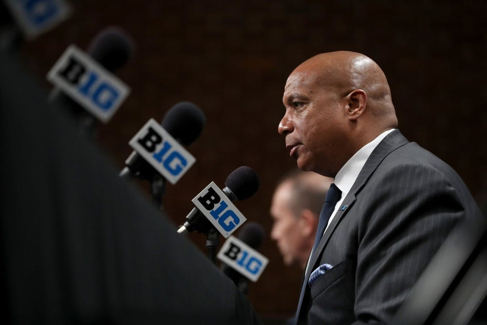 <p>Big Ten commissioner Kevin Warren speaks about the cancellation of the men&#x27;s basketball tournament March 12 at Bankers Life Fieldhouse in Indianapolis. The Big Ten changed its football championship rules to allow Ohio State to play in it, eliminating IU.</p>