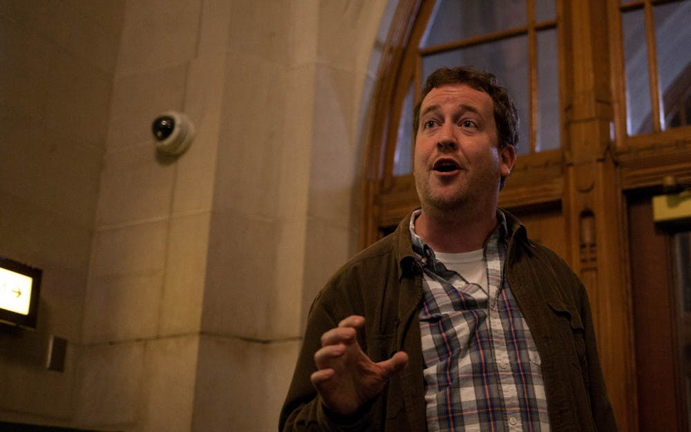 Professor Robert Dobler tells ghost stories inside the IMU on Wednesday evening as part of the 2016 Ghost Walk put on by IU Folklore and Ethnomusicology Student Association.