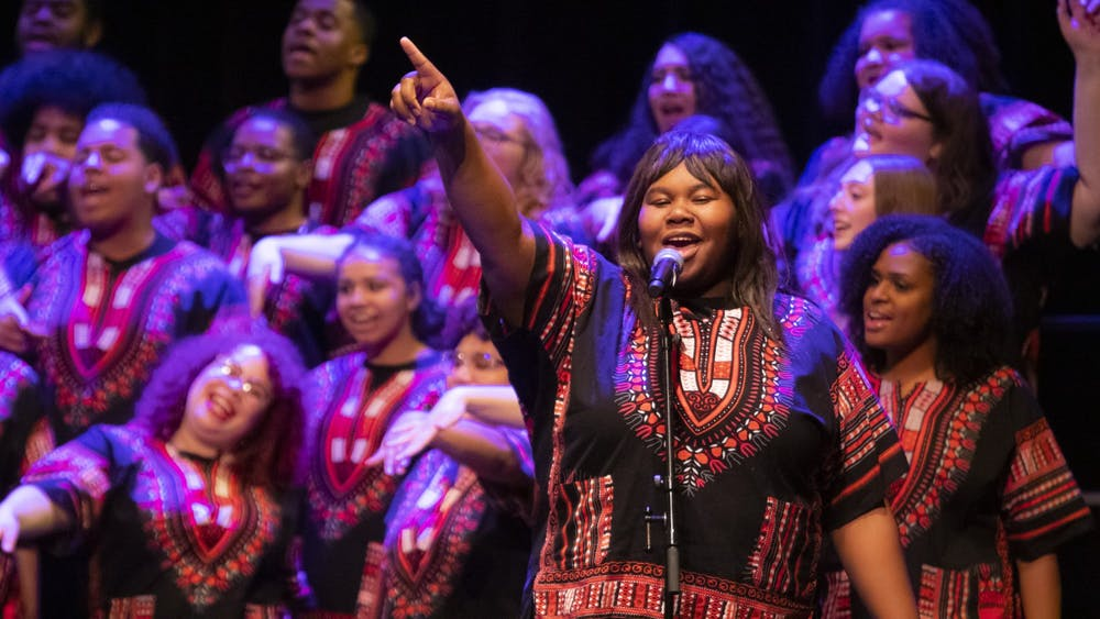 """The IU African American Choral Ensemble sings """"Oh Happy Day"""" Jan. 20 at the Buskirk-Chumley Theater. The chorale performed during the Martin Luther King Jr. Birthday Celebration."""