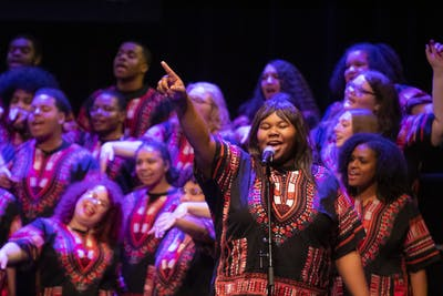 "The IU African American Choral Ensemble sings ""Oh Happy Day"" Jan. 20 at the Buskirk-Chumley Theater. The chorale performed during the Martin Luther King Jr. Birthday Celebration."