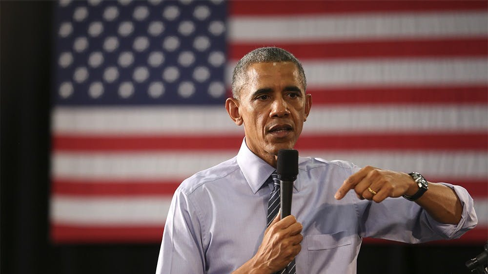 President Barack Obama discusses middle class economics and affordable higher education at Ivy Tech Community College on Friday afternoon.