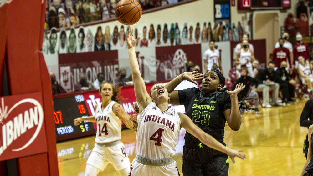 Senior guard Nicole Cardaño-Hillary attempts a layup Sunday in Simon Skjodt Assembly Hall. The Hoosiers will play Rutgers on Thursday at Simon Skjodt Assembly Hall.