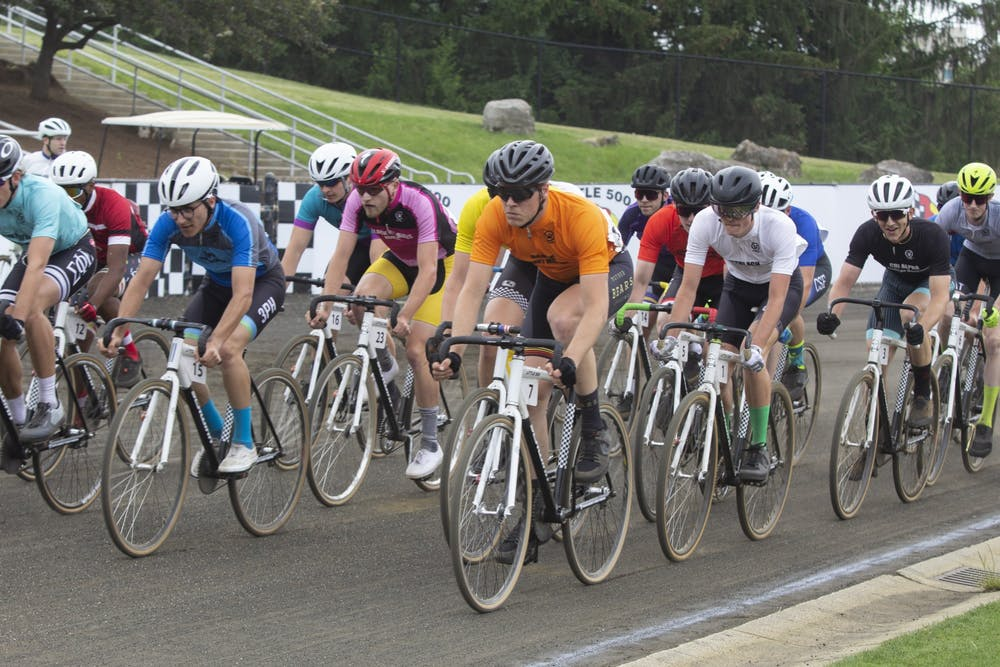 <p>Riders race on the track during the men&#x27;s Little 500 on Wednesday at Bill Armstrong Stadium.</p>