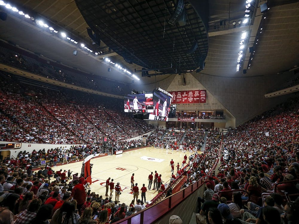 The Simon Skojdt Assembly Hall crowd during Hoosier Hysteria. Students, including international students, fill up stands during IU Athletics events.
