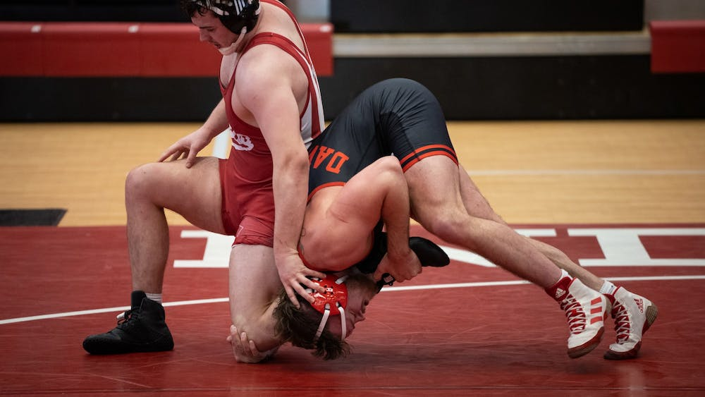 Junior Rudy Streck defends against Nebraska junior Cale Davidson at Wilkinson Hall on Feb. 6. The IU wrestling team's next match is against Maryland on Sunday.