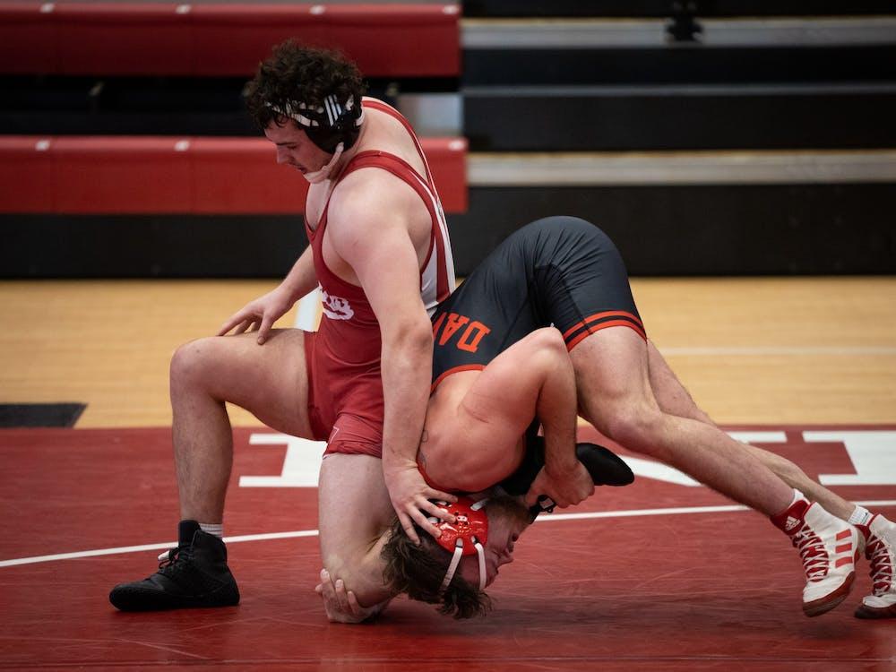 Junior Rudy Streck defends against Nebraska junior Cale Davidson at Wilkinson Hall on Feb. 6. The IU wrestling team's next match is against Maryland on Sunday.