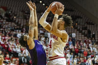Freshman forward Trayce Jackson-Davis shoots the ball Nov. 12 in Simon Skjodt Assembly Hall. Jackson-Davis made 20 of IU's 91 points against North Alabama University.