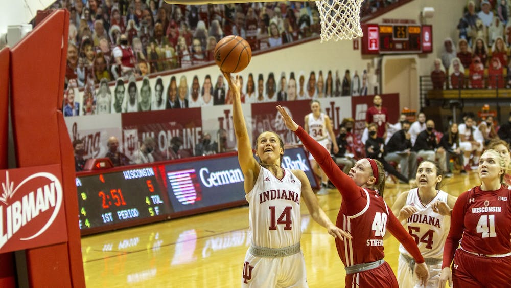 Redshirt senior guard Ali Patberg drives to the rim to attempt a layup Jan. 10 in Simon Skjodt Assembly Hall. Patberg scored a team-high 21 points in No. 19 IU's 74-49 victory over Wisconsin.