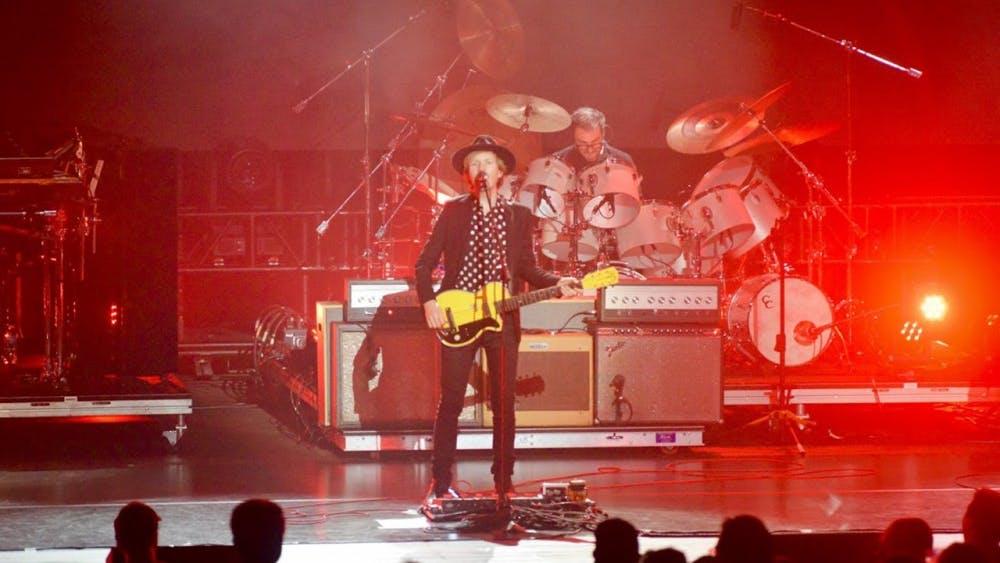 Beck performs at the IU Auditorium Thursday night.