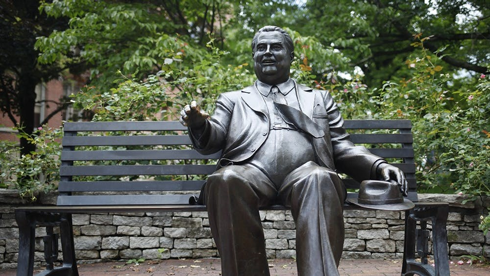 The Herman B Wells statue can be found by Owen Hall. Many students sit next to Wells and shake his hand as a tradition.