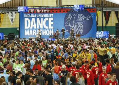 Students participate in the 2017 Indiana University Dance Marathon at the IU Tennis Center.