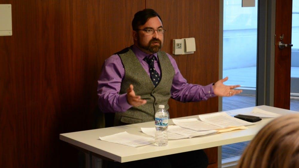 Dr. Djene Bajalan, a Middle East historian from Missouri State University, gives a speech on Kurdish nationalism. Dr. Bajalan spoke on Wednesday in the Global and International Studies Building.