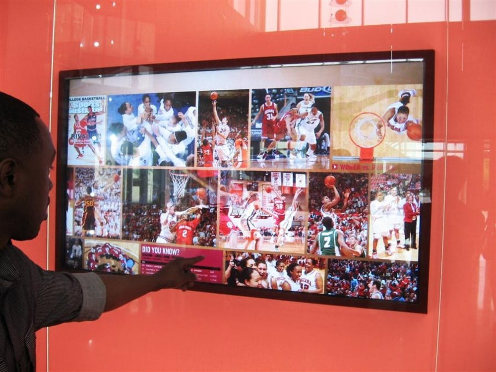 One of two interactive display screens, featuring history and highlights of IU basketball