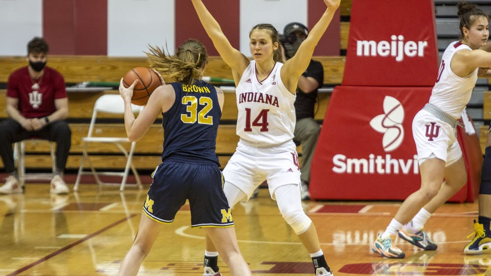 Senior guard Ali Patberg plays defense against Michigan on Feb. 18 in Simon Skjodt Assembly Hall. Patberg and senior guard Keyanna Warthen will be honored with Senior Day festivities before playing Purdue at 1 p.m. Saturday.